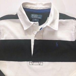 Boys Ralph Lauren Black & White Stripe Polo 6